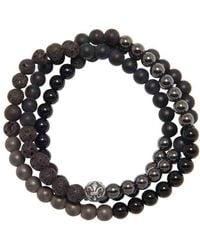Nialaya Wrap-around Bracelet With Lava Stone, Hematite And Agate - Black
