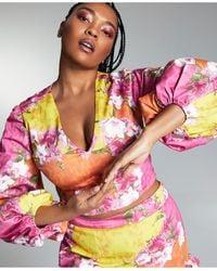 Bar Iii Zerina Akers Floral Balloon Sleeve Crop Top, Created For Macy's - Multicolour