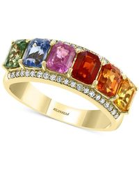 Effy Collection Effy® Multi Sapphire (2-3/8 Ct. T.w.) & Diamond (1/6 Ct. T.w.) Statement Ring In 14k Gold - Metallic
