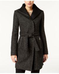 T Tahari - Asymmetrical Tweed Coat - Lyst