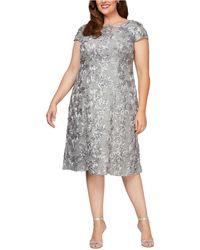 Alex Evenings Plus Size Rosettes Lace A-line Dress - Grey