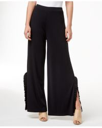 Kensie - Ruffle-trim Wide-leg Trousers - Lyst