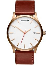 MVMT Classic Brown Leather Strap Watch 45mm - Natural
