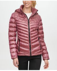 Calvin Klein Petite Hooded Packable Down Puffer Coat, Created For Macy's - Multicolor