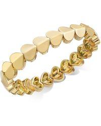 Kate Spade Gold-tone, Silver-tone Or Rose-gold Tone Heart Stretch Bracelet - Metallic