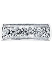 2028 Silver-tone Flowers Bar Barrette - Metallic
