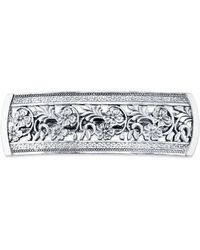 2028 Silver-tone Flowers Bar Barrette - Metallic