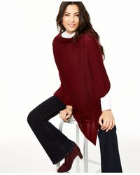 Charter Club Asymmetrical Cashmere Poncho, Created For Macy's - Red