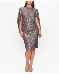 Betsy & Adam Plus Size Sequin Drape-back Sheath Dress - Multicolor