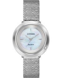 Citizen - L Ambiluna Diamond-accent Stainless Steel Mesh Bracelet Watch 32mm - Lyst