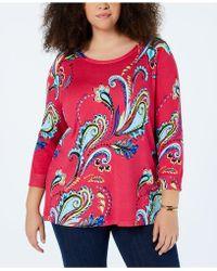Joseph A Plus Size Paisley-knit Tunic Sweater - Red