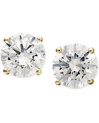 Arabella - 14k Gold Earrings, Swarovski Zirconia Round Stud Earrings (1-3/4 Ct. T.w.) - Lyst