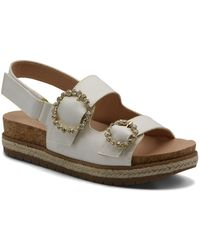 Adrienne Vittadini Prize Footbed Sandals - White