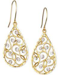 Macy's - Two-tone Filigree Teardrop Drop Earrings In 10k Gold - Lyst