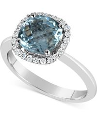 Macy's - Aquamarine (2-1/4 Ct. T.w.) And Diamond (1/5 Ct. T.w.) Ring In 14k White Gold - Lyst