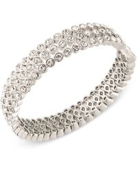 Carolee - Silver-tone Crystal Bangle Bracelet - Lyst
