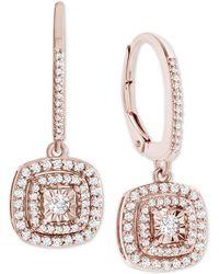 Macy's Diamond Halo Drop Earrings (1/2 Ct. T.w.) - Metallic