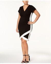 Almost Famous Trendy Plus Size Faux-wrap Dress - Black
