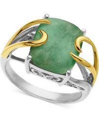 Macy's | 14k Gold And Sterling Silver Ring, Jade Rectangle (10-12mm) | Lyst