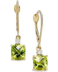 Macy's - 14k Gold Earrings, Peridot (2-1/5 Ct. T.w.) And Diamond Accent Long Drop Square Earrings - Lyst