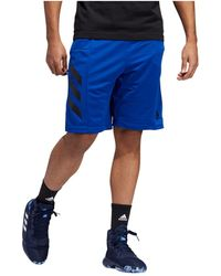 adidas Climalite 3 Stripe Basketball Shorts - Blue