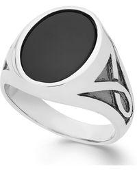Macy's Onyx Oval Ring In Sterling Silver (3-1/3 Ct. T.w.) - Metallic