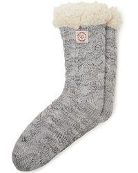 Dearfoams Space-dye Cable Knit Blizzard Slipper Sock, Online Only - Grey