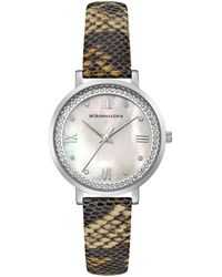 BCBGMAXAZRIA Ladies Printed Leather Strap Watch With Light Mop Dial, 33mm - Metallic