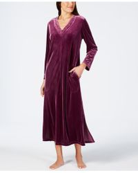 Charter Club Long Velvet Zip Robe, Created For Macy's - Purple