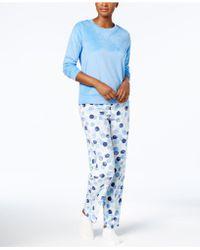 Hue - Sueded Fleece Top & Printed Trousers With Socks Pyjama Set - Lyst