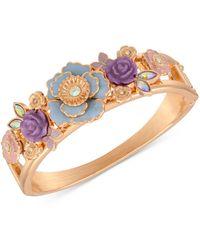 Guess Gold-tone Flower Garden Hinge Bracelet - Metallic