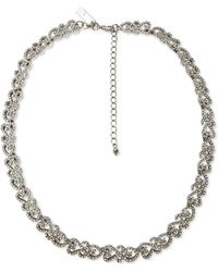 """INC International Concepts Inc Silver-tone Crystal Filigree Collar Necklace, 17"""" + 3"""" Extender, Created For Macy's - Metallic"""