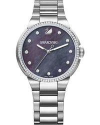 Swarovski - Women's Swiss City Crystal Accent Stainless Steel Bracelet Watch 38mm - Lyst