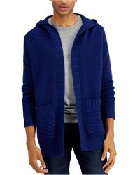 INC International Concepts Textured-knit Hooded Cardigan, Created For Macy's - Blue