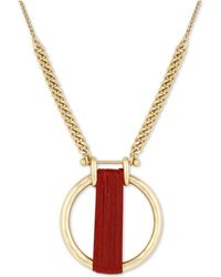 "Lucky Brand - Gold-tone Leather-wrapped Circle 29"" Pendant Necklace - Lyst"