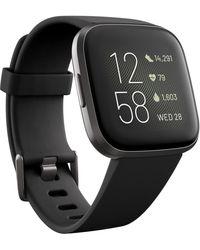 Fitbit Versa 2 Black Elastomer Strap Touchscreen Smart Watch 39mm
