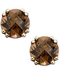 Macy's - 14k Gold Earrings, Smoky Quartz Stud (3 Ct. T.w.) - Lyst