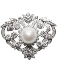 Macy's Cultured Freshwater Pearl (12mm) & Cubic Zirconia Pin In Sterling Silver - Metallic
