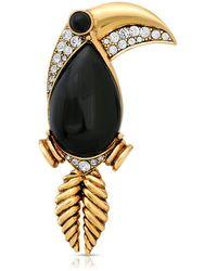 2028 Enamel Crystal Toucan Brooch Pin - Black