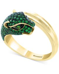 Effy Effy® Emerald (1 Ct. T.w.) And Tsavorite Accent Panther Ring In 14k Gold - Green