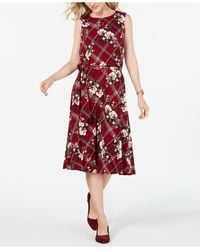 Charter Club - Petite Sleeveless Mixed-print Dress, Created For Macy's - Lyst
