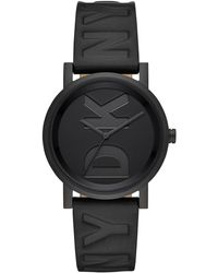 DKNY - Soho Black Leather Strap Watch 34mm, Created For Macy's - Lyst