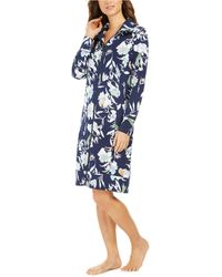 Sesoire Floral-print French Terry Short Zipper Robe - Blue