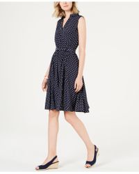 Charter Club Petite Belted Polka-dot Dress, Created For Macy's - Blue