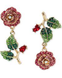 Betsey Johnson - Gold-tone Multicolor Crystal Rose Mismatch Drop Earrings - Lyst