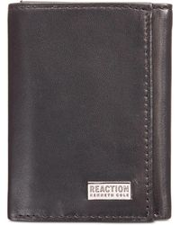Kenneth Cole Reaction Nappa Leather Extra-capacity Tri-fold Wallet - Black