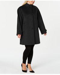 Jones New York Plus Size Stand-collar Coat - Black