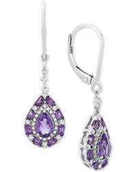 Macy's Amethyst (3/4 Ct. T.w.) & White Sapphire (5/8 Ct. T.w.) Drop Earrings In Sterling Silver