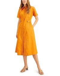 Alfani Midi Shirtdress, Created For Macy's - Orange