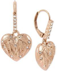 Betsey Johnson - Rose Gold-tone Pavé Winged Heart Drop Earrings - Lyst